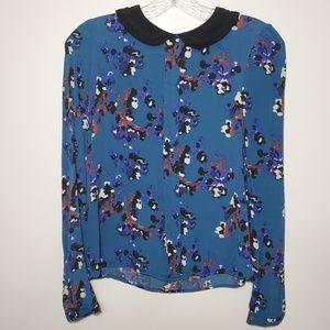 Zara Peter pan collar Floral shirt size XS